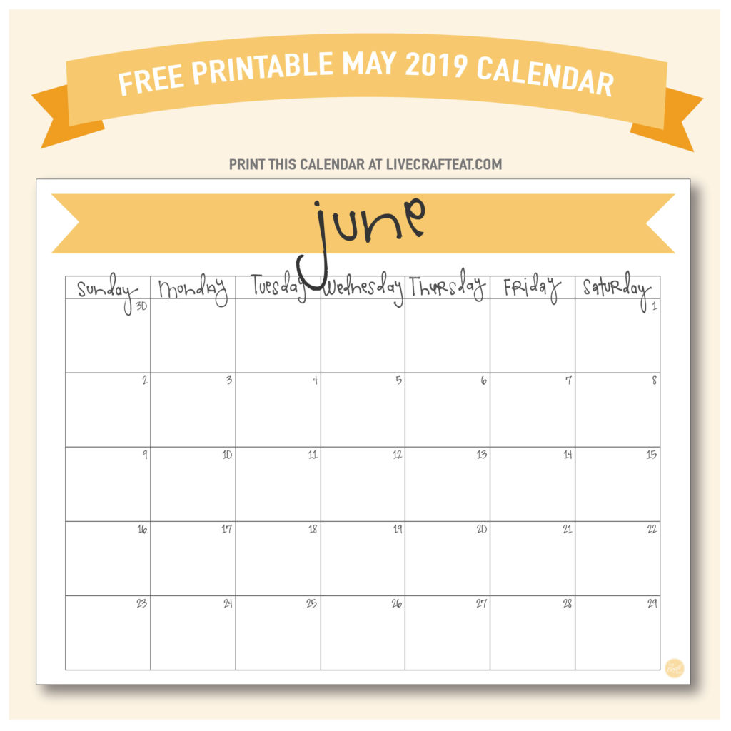 photo about Free Printable June Calendar titled June 2019 Calendar - No cost Printable Are living Craft Consume
