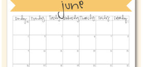 Free Printable Monthly Calendar :: June 2019