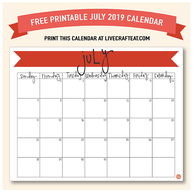 image about Free Printable July Calendar referred to as July 2019 Calendar - No cost Printable Reside Craft Take in