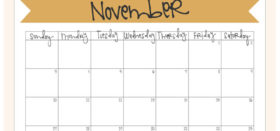 Free Printable Monthly Calendar :: November 2019