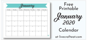 Free Printable Monthly Calendar :: January 2020