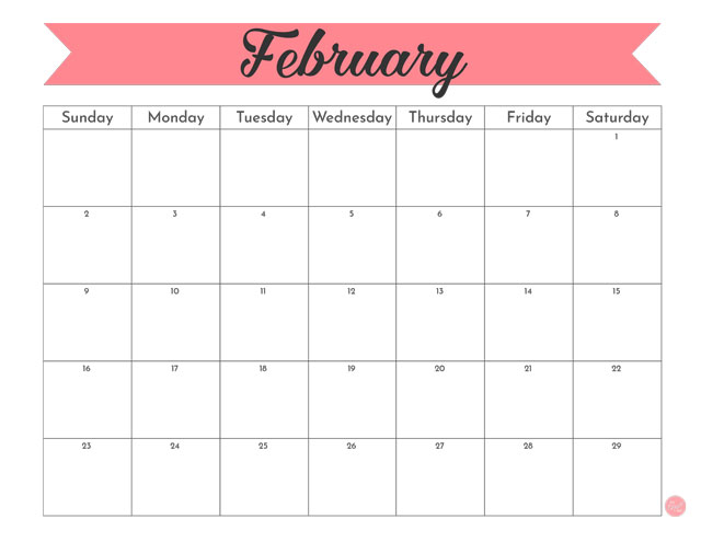 Free for personal use February 2020 calendar