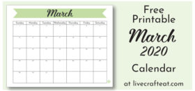Free Printable Monthly Calendar :: March 2020