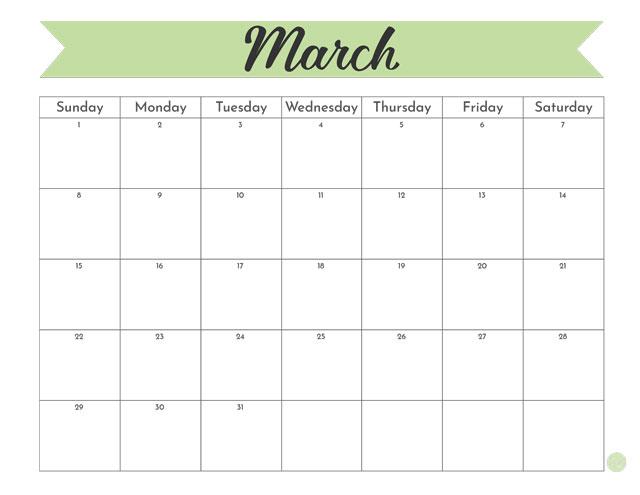 "Free printable 8.5"" 11"" March 2020 calendar"