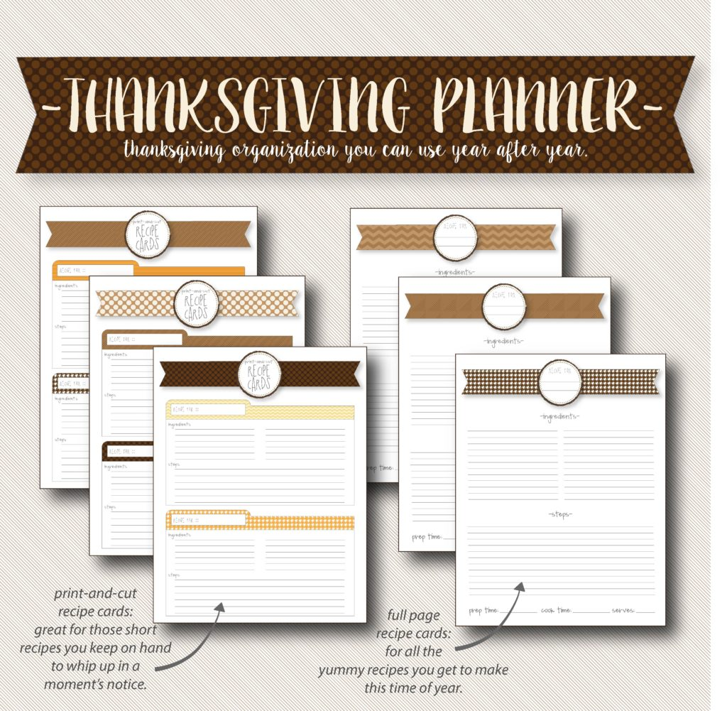 Thanksgiving planner with recipe pages