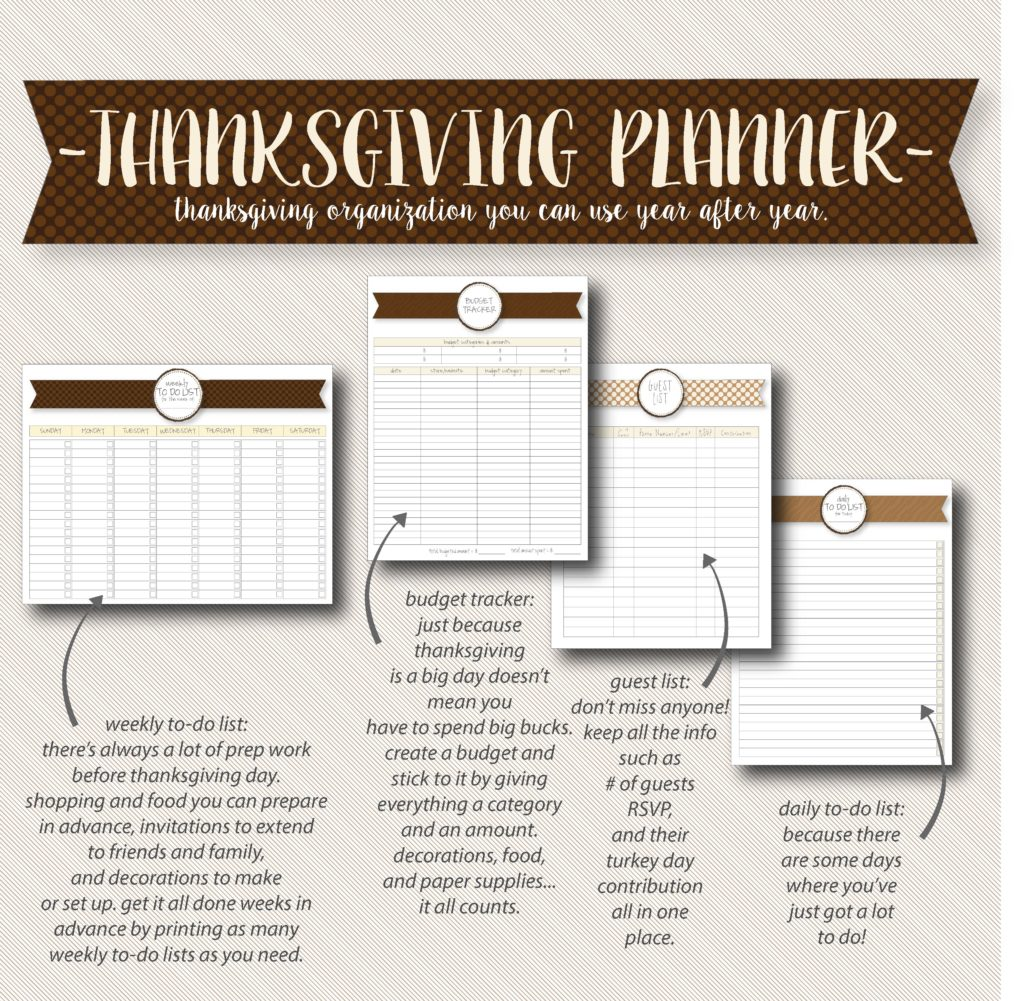 Free printable Thanksgiving planner organization pages