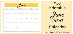 Free Printable Monthly Calendar :: June 2020