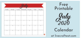 Free Printable Monthly Calendar :: July 2020