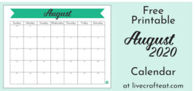 Free Printable Monthly Calendar :: August 2020