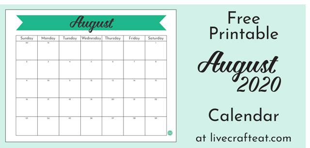 August 2020 banner calendar