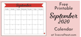 Free Printable Monthly Calendar :: September 2020