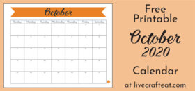 Free printable monthly calendar - October 2020
