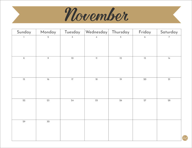 November 2020 monthly calendar: Free printable!