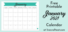 Free Printable Monthly Calendar :: January 2021