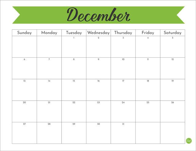 Free printable December 2020 monthly calendar