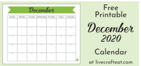 Free Printable Monthly Calendar :: December 2020