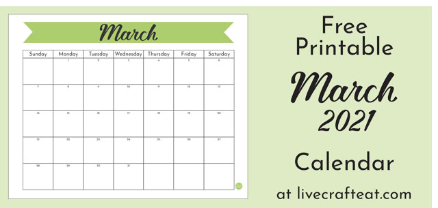 This March 2021 monthly calendar is free for you to print from your home printer!