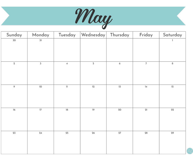 Free May 2021 calendar - great for printing at home or at the office!