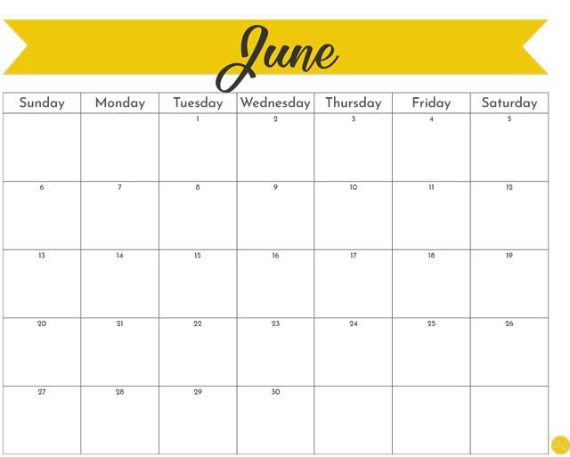 June 2021 monthly calendar - free PDF file!