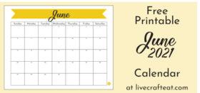 Free Printable Monthly Calendar :: June 2021