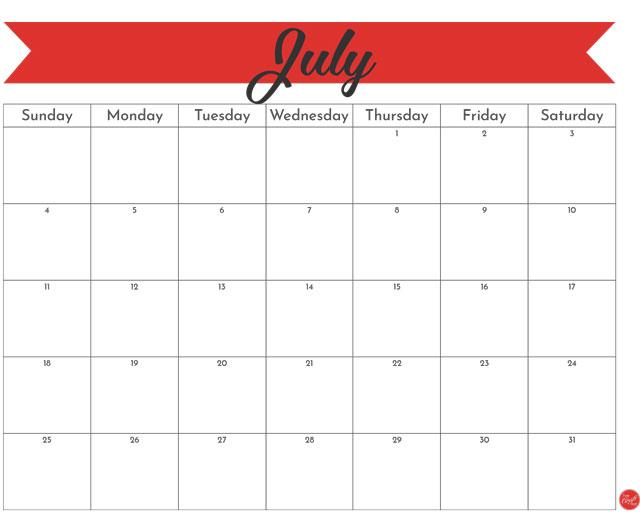 July 2021 monthly calendar - freebie printable!