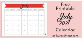 Free Printable Monthly Calendar :: July 2021